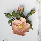 Украшения handmade. Livemaster - original item The brooch is a Sprig of wild rose leather. Handmade.