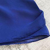 Платки ручной работы. Ярмарка Мастеров - ручная работа Платок шейный синий шёлк/шифон. Handmade.
