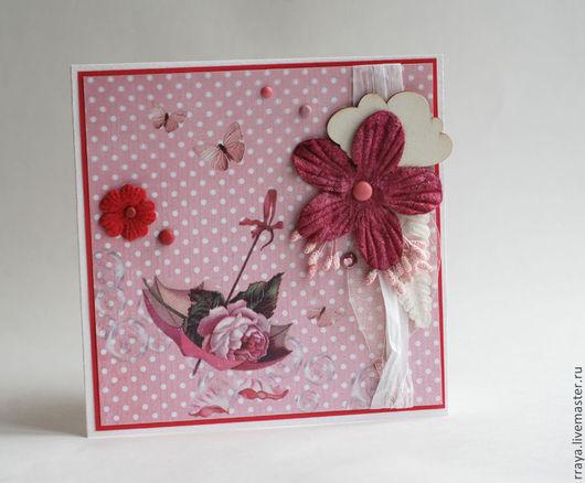 """Открытки для женщин, ручной работы. Ярмарка Мастеров - ручная работа. Купить Открытка """"Зонтик с розой"""". Handmade. Бледно-розовый"""