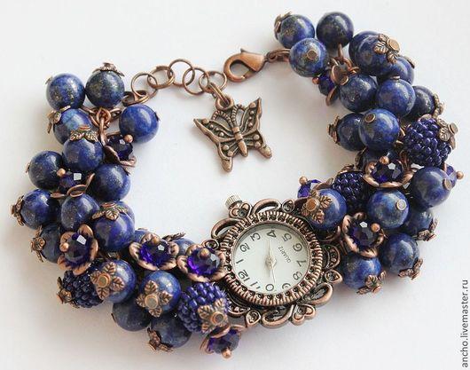"""Часы ручной работы. Ярмарка Мастеров - ручная работа. Купить Часы """"Лазурит"""". Handmade. Тёмно-синий, часы, часы-браслет"""