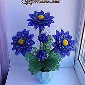 Цветы ручной работы. Ярмарка Мастеров - ручная работа Синие герберы из бисера. В наличии. Handmade.