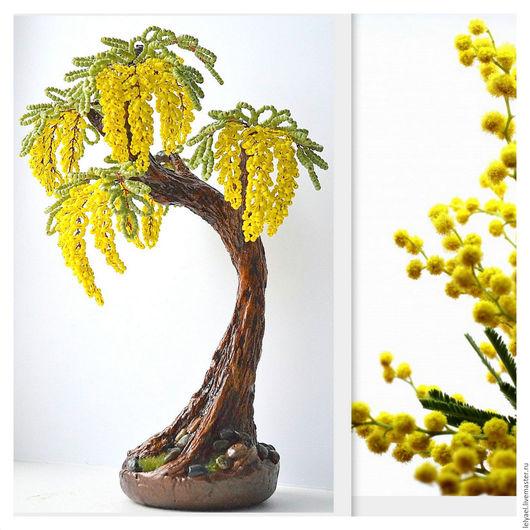 Искусственные растения ручной работы. Ярмарка Мастеров - ручная работа. Купить Желтое дерево из бисера. Handmade. Желтый, мимоза, проволока