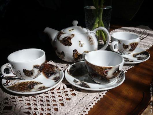 Чайники, кофейники ручной работы. Ярмарка Мастеров - ручная работа. Купить Чайный Сервиз. Ручная роспись. Ежики любят пить чай с вареньем.. Handmade.