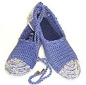 Обувь ручной работы. Ярмарка Мастеров - ручная работа Балетки вязаные, синие, Бохо, хлопок. Handmade.