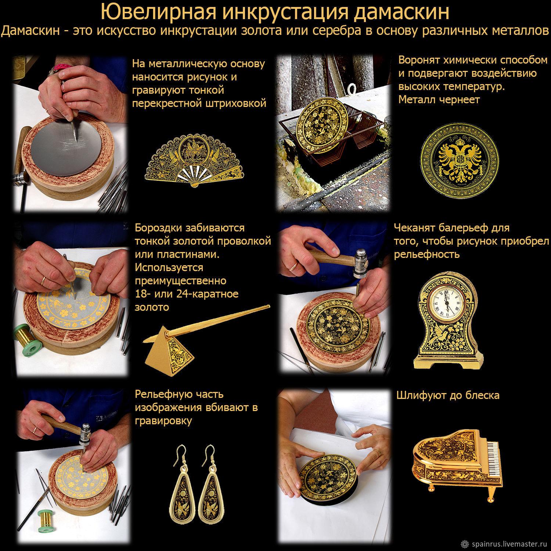 Наручные часы техника Дамаскин Золото 24К черные. Винтаж Испания. Ярмарка 59af3d46e20