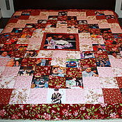 """Свадебный салон ручной работы. Ярмарка Мастеров - ручная работа """" Алые розы...""""--лоскутное одеяло с фотографиями. Handmade."""