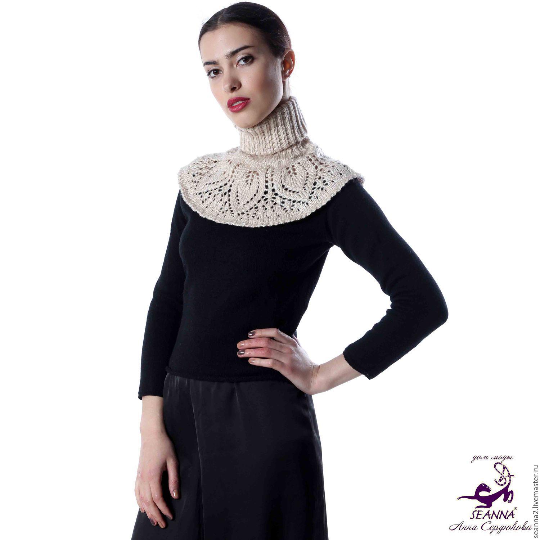 Купить вязаный воротник на платье