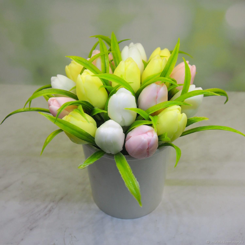 Средний мыльный букет из пастельных тюльпанов, Мыло, Москва,  Фото №1