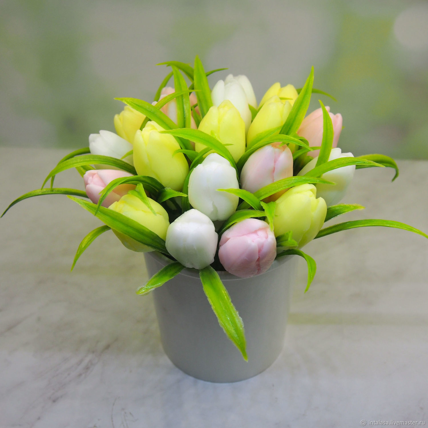 Medium soap bouquet of pastel tulips, Soap, Moscow,  Фото №1