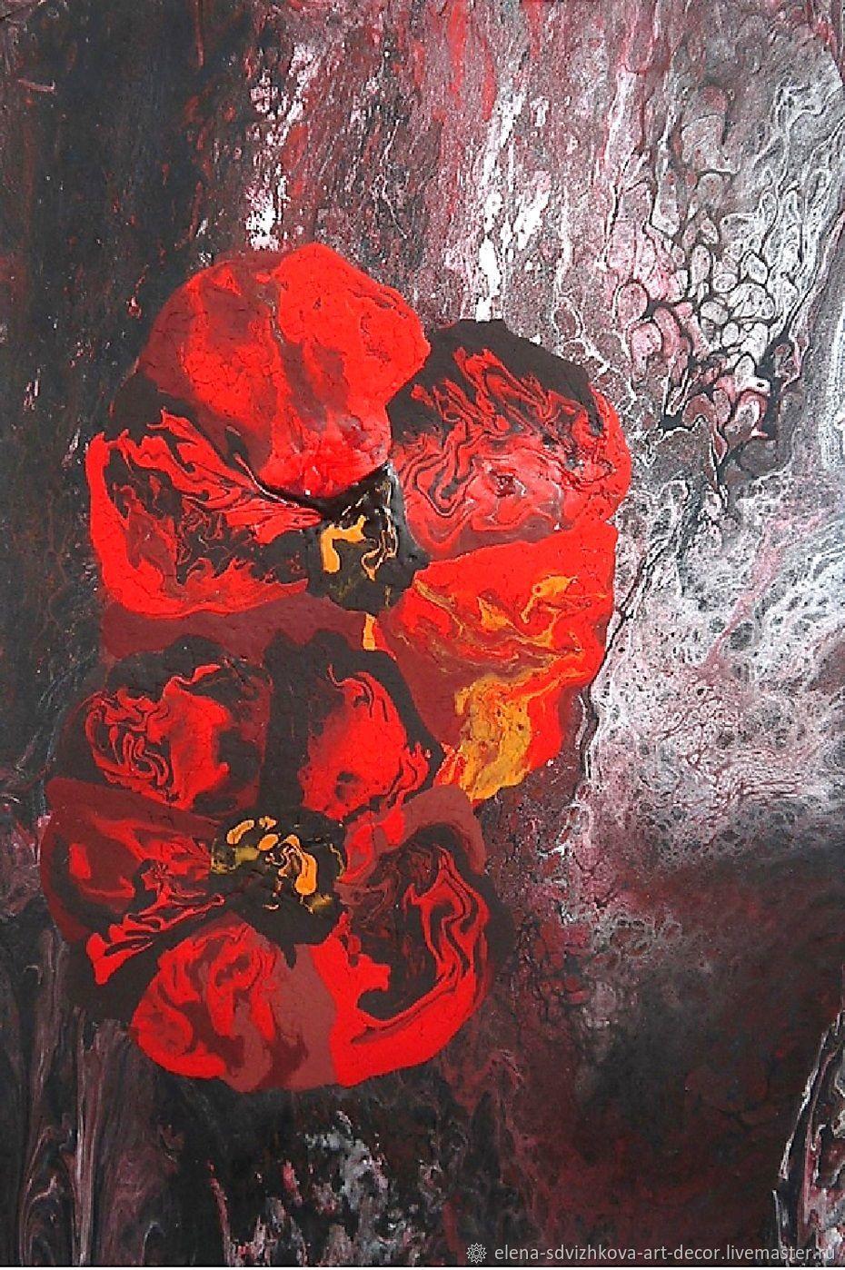 Авторская картина в раме  Цветы Гранж, Картины, Санкт-Петербург,  Фото №1