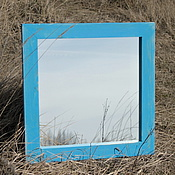 """Для дома и интерьера ручной работы. Ярмарка Мастеров - ручная работа Зеркало настенное в раме. """"Сосна. Голубой"""". Handmade."""