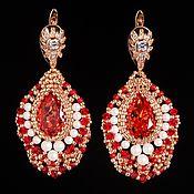 Украшения handmade. Livemaster - original item Red. Earrings Strawberries and cream. Red with gold.. Handmade.