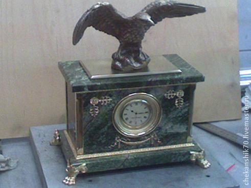 """Часы для дома ручной работы. Ярмарка Мастеров - ручная работа. Купить Часы каминные """"Орёл"""". Handmade. Коричневый, бронза, орел"""