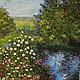 Картина маслом пейзаж копия Моне Сад Визун подарок девушке женщине на заказ репродукция Моне цветы зеленый большой формат