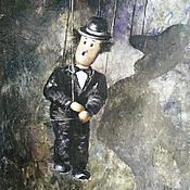 Картины и панно handmade. Livemaster - original item The picture with the doll is Funny as hell oil painting. Handmade.