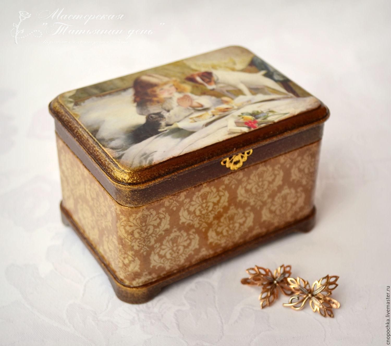 Trinket Boxes handmade. Livemaster - handmade. Buy Caja de joyería de la Niña con el perro.