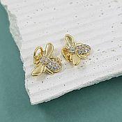 Материалы для творчества handmade. Livemaster - original item Bee pendant with zircons 10x14 mm gilt (5654-Z). Handmade.
