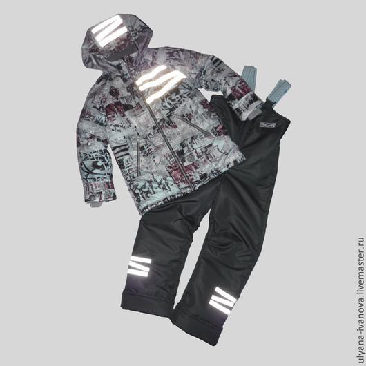 Одежда для мальчиков, ручной работы. Ярмарка Мастеров - ручная работа. Купить Комплект с подстежкой Граффити. Handmade. Серый, комплект, таслан