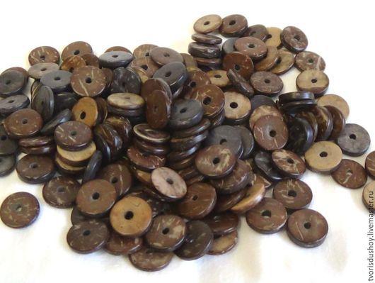 Для украшений ручной работы. Ярмарка Мастеров - ручная работа. Купить Кокос бусины диски 12 мм рондель коричневый. Handmade.