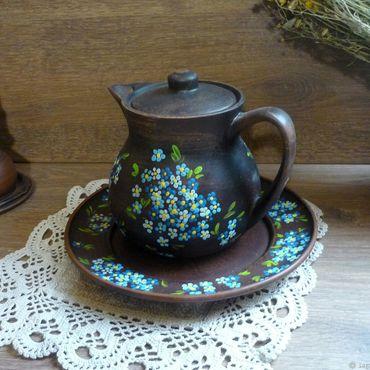 Посуда ручной работы. Ярмарка Мастеров - ручная работа Керамический набор Голубые дали. Handmade.
