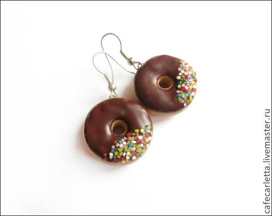 """Серьги ручной работы. Ярмарка Мастеров - ручная работа. Купить Серьги """"Шоколадные пончики"""". Handmade. Коричневый, пончики, шоколадный, серьги"""