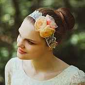 Аксессуары handmade. Livemaster - original item Ретро повязка на голову с кружевом и цветами розы кремовая. Handmade.
