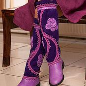Сапоги ручной работы. Ярмарка Мастеров - ручная работа Сапоги кожаные с вязанием Южная ночь. Handmade.