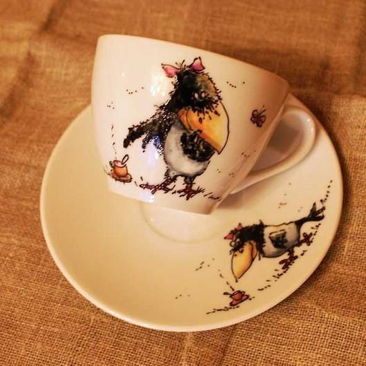 """Сервизы, чайные пары ручной работы. Ярмарка Мастеров - ручная работа. Купить Чайная пара """"Ворона и кофе"""". Handmade. Ворона"""