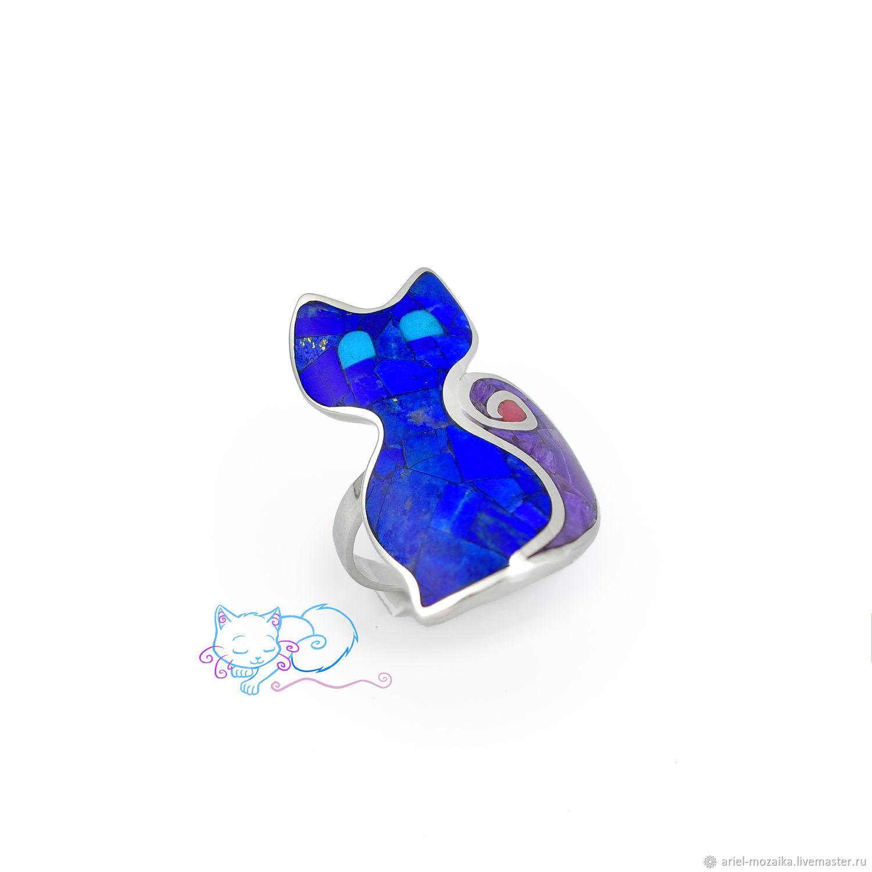 Lapis lazuli kitten RING 1. Size 16. Ring with lapis lazuli, Rings, Moscow,  Фото №1
