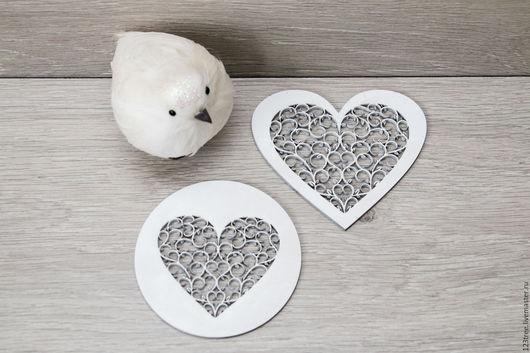 """Кухня ручной работы. Ярмарка Мастеров - ручная работа. Купить Подставки под горячее """"Белые сердца"""". Handmade. Белый"""
