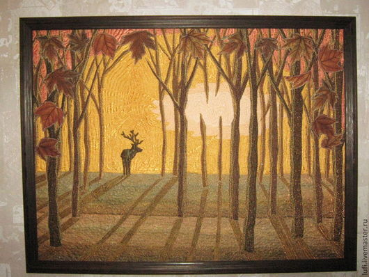 """Пейзаж ручной работы. Ярмарка Мастеров - ручная работа. Купить Квилт """"Тишина"""" (Английский парк). Handmade. Оранжевый, парк"""