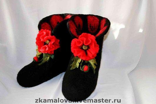 """Обувь ручной работы. Ярмарка Мастеров - ручная работа. Купить Валенки домашние """"Красный мак"""". Handmade. Домашняя обувь, черный"""