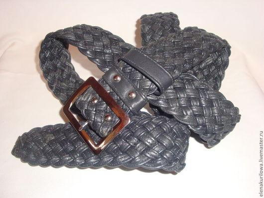 Пояса, ремни ручной работы. Ярмарка Мастеров - ручная работа. Купить Ремень из натуральной кожи плетеный Черный Мокрый Асфальт. Handmade.