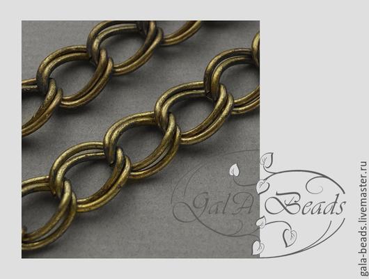 Для украшений ручной работы. Ярмарка Мастеров - ручная работа. Купить Цепочка крупная двойная античная бронза  60 см  004. Handmade.