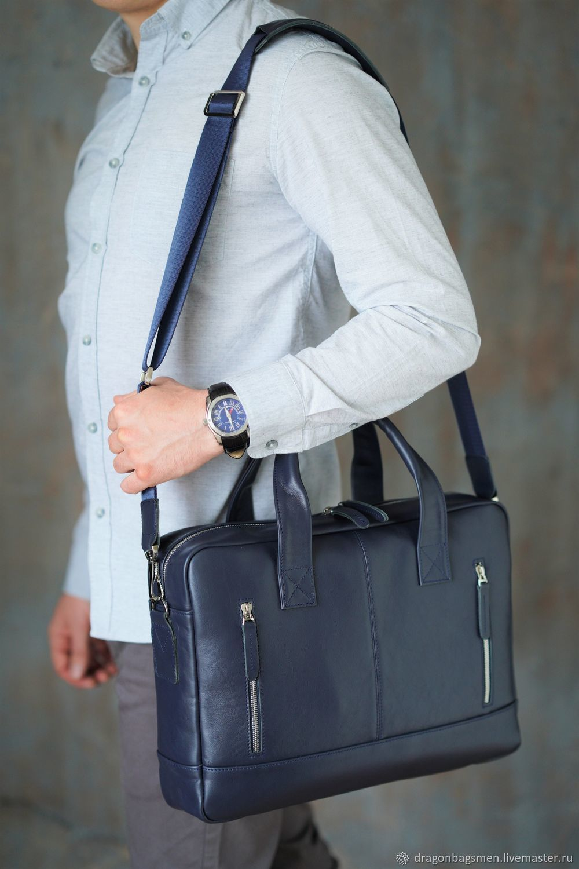 Men's leather bag 'Solomon' (Dark blue), Men\'s bag, Yaroslavl,  Фото №1