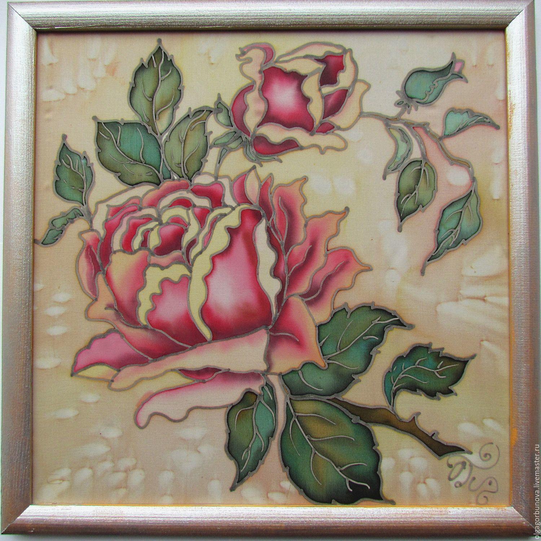 Scarves handmade. Livemaster - handmade. Buy Batik Painting 'The Rose'.Roses, painting with flowers, silk panels