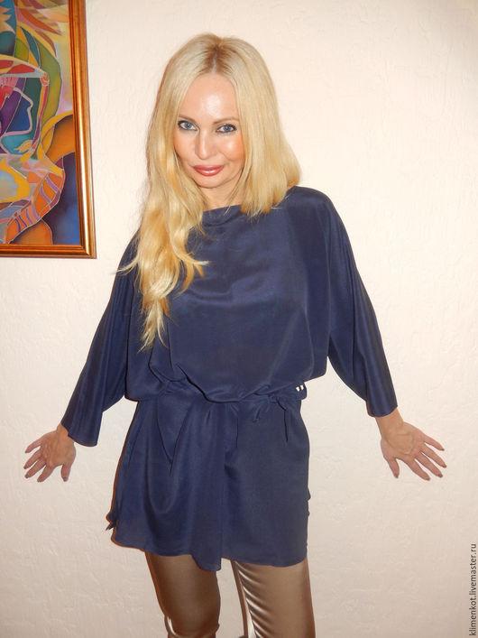 Блузки ручной работы. Ярмарка Мастеров - ручная работа. Купить Блуза Глубина -2. Handmade. Тёмно-синий, большие размеры