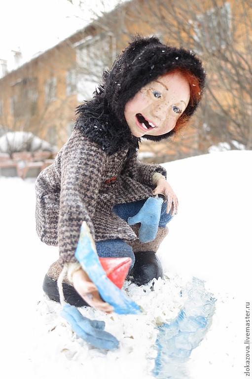 Человечки ручной работы. Ярмарка Мастеров - ручная работа. Купить девочка с корабликом. Handmade. Куклы ручной работы, портретные куклы
