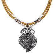 Украшения handmade. Livemaster - original item ECO necklace made of Portuguese oak bark heart handmade C0068w. Handmade.