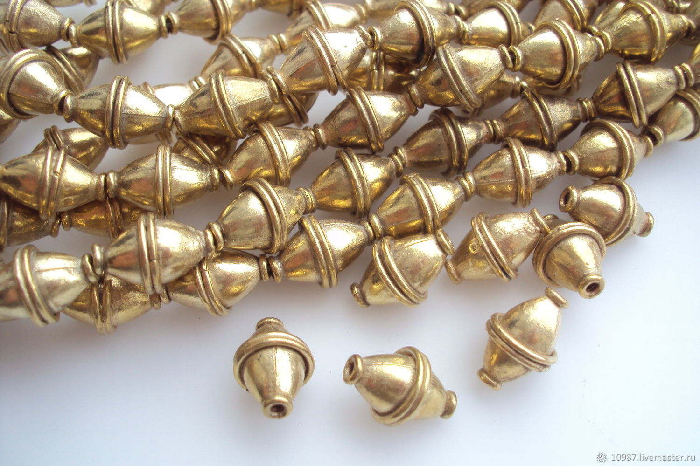 Золотистые биконусы 16х11мм, Фурнитура, Москва,  Фото №1