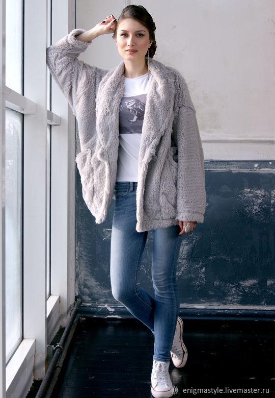 Grey faux fur cardigan cape, fuzzy coat, Jacket with Long Sleeves, Cardigans, Novosibirsk,  Фото №1