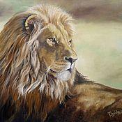 Картины и панно ручной работы. Ярмарка Мастеров - ручная работа Картина маслом Лев , просто лев. Handmade.