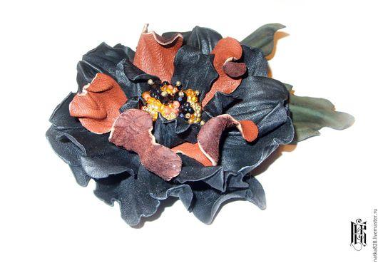 Броши ручной работы. Ярмарка Мастеров - ручная работа. Купить Брошь - Цветок из кожи 12 см. Handmade. Черный, цветок