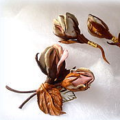 Украшения ручной работы. Ярмарка Мастеров - ручная работа Брошь из кожи Бутонные розы. Handmade.