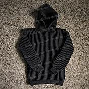 Одежда handmade. Livemaster - original item Knitted sweater with hood, black (No. №503). Handmade.