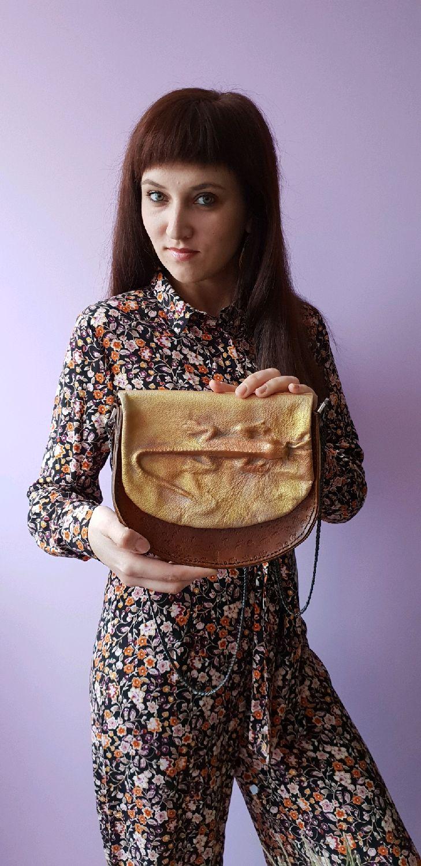 Женские сумки ручной работы. Ярмарка Мастеров - ручная работа. Купить Сумочка седло из кожи растительного дубления с тиснением ящерица. Handmade.