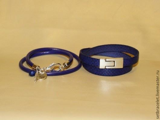 Браслеты ручной работы. Ярмарка Мастеров - ручная работа. Купить Кожаные браслеты из кожи фиолетово-синей: круглый 5мм, плоский 10мм. Handmade.