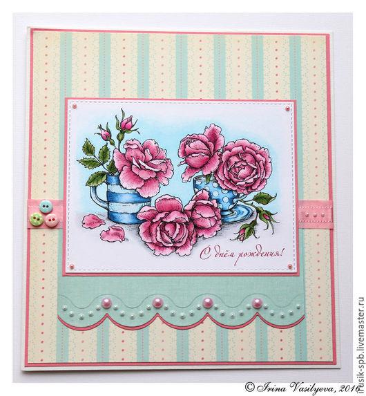 Открытки на день рождения ручной работы. Ярмарка Мастеров - ручная работа. Купить Открытка с розовыми розами к дню рождения. Handmade.