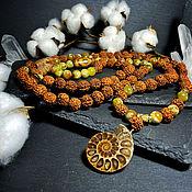 Фен-шуй и эзотерика handmade. Livemaster - original item Rosary of Rudraksha and Chrysopal with beads JI 108 b.. Handmade.