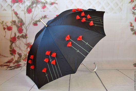 """Зонты ручной работы. Ярмарка Мастеров - ручная работа. Купить зонт """"Кармен"""". Handmade. Черный, цветы ручной работы, органза"""